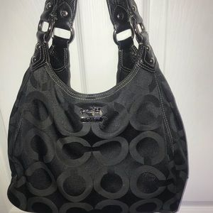 Coach Black Sateen Hobo Bag